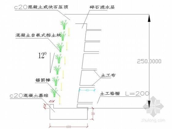 河道驳岸自嵌式植生挡土墙节点详图