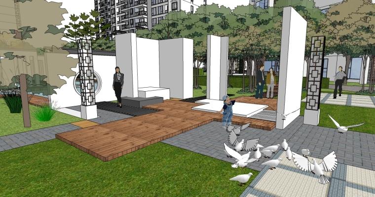 中式风格居住区精细景观模型_2
