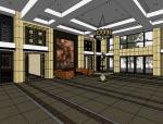 酒店大堂室内设计|SU模型