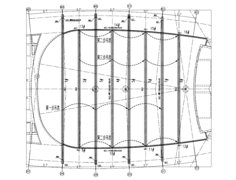 B 区中庭天窗钢结构吊装顺序示意图