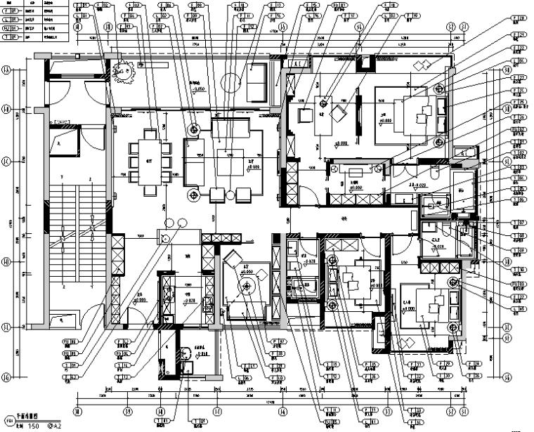 鼎峰源著三期3-A样板房设计施工图(附效果图)