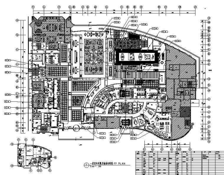 安徽某大型饭店整套室内装修设计施工图(51张)