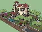 托斯卡纳风格别墅SketchUp模型下载