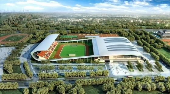 悬挑空间立体桁架结构体育场和体育馆及游泳馆结构施工图(含详细建筑图)