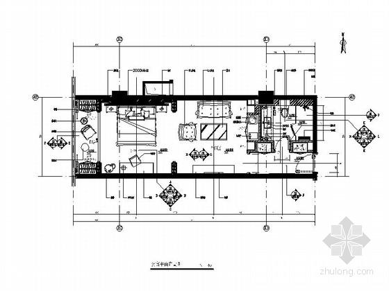 [原创]豪华欧式酒店型公寓样板间装修设计cad施工图(含效果图)