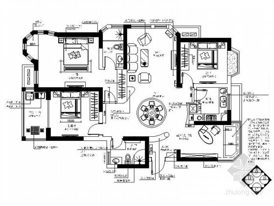 欧式风格三室两厅室内装修图(含实景)
