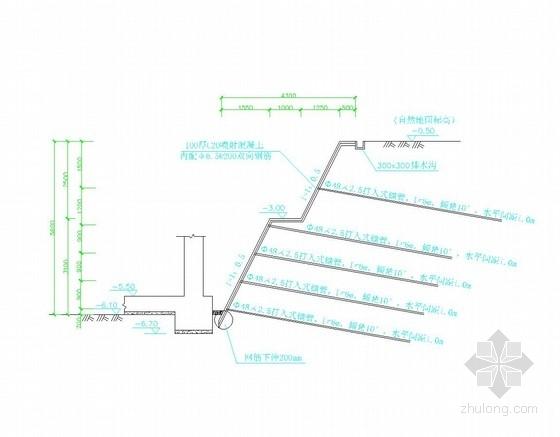 [浙江]悬臂桩加土钉墙基坑支护施工图
