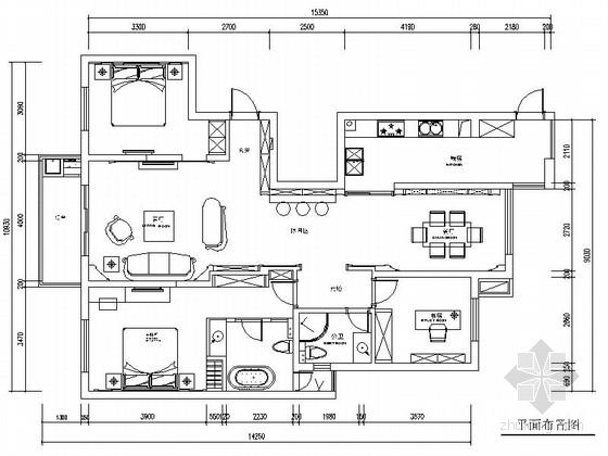 [常熟]尚湖风景区典雅简欧三室两厅CAD装修施工图(含高清实景图)