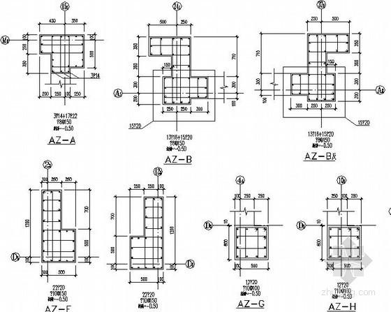 广场地下结构墙柱节点构造详图