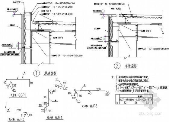 压型钢板屋面泛水板施工节点做法详图