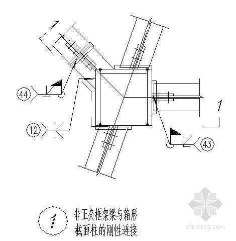 钢梁钢柱非正交连接节点构造详图