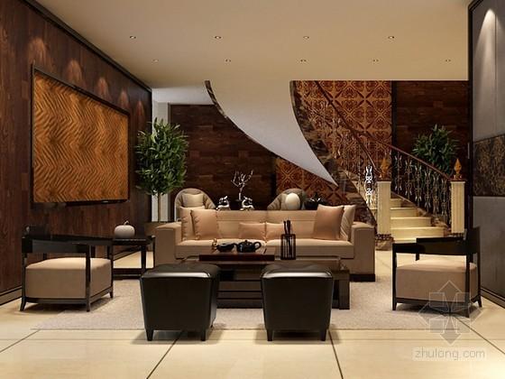 欧式风格别墅客厅3d模型下载