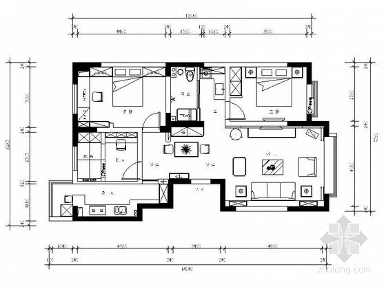 [新疆]115平田园风情三室两厅样板间CAD装修施工图(含效果)