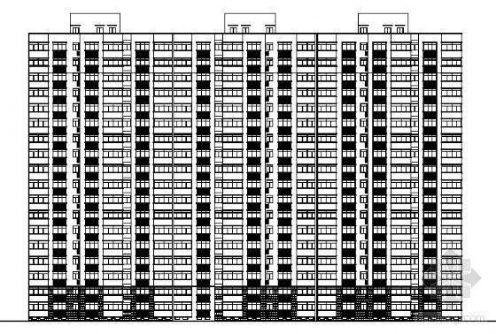 某十四层住宅楼建筑方案图(一梯三户)