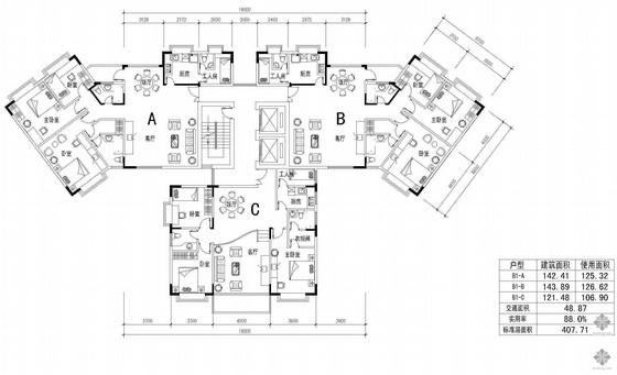 塔式高层一梯三户户型图(142/144/122)