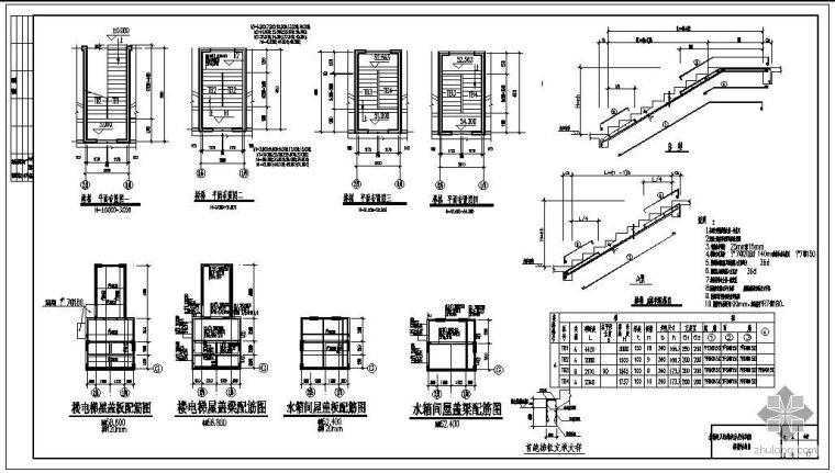 某住宅楼楼梯、水箱间及电梯机房层结构节点构造详图