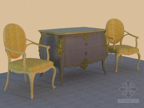 欧式花柜3D模型下载