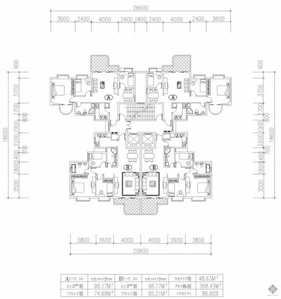 塔式高层一梯四户户型图(98/98/75/75)