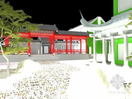 园林小景3d模型下载