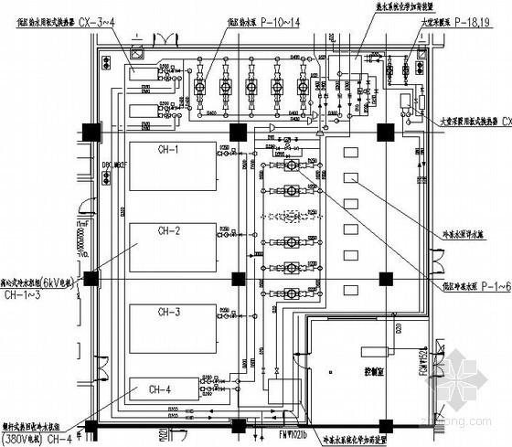 [上海]大型综合商业办公楼暖通空调全套施工图-冷冻机房详图