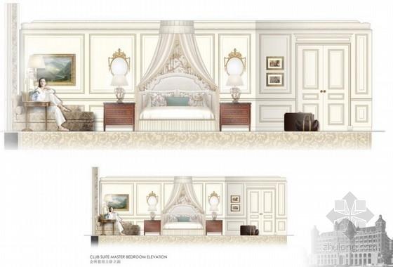 高级品牌国际连锁酒店室内设计方案会所套房主卧立面图
