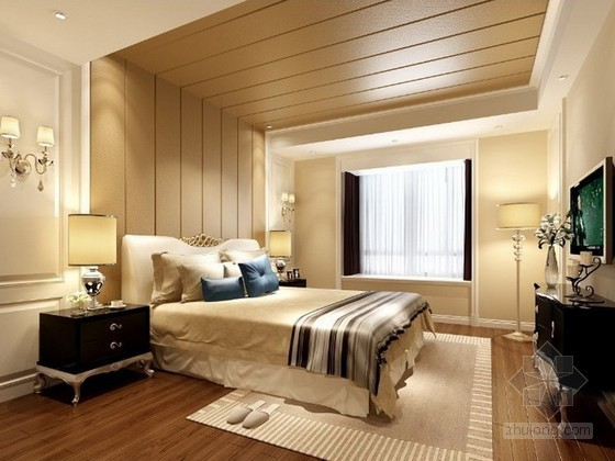简欧风格温馨卧室3d模型下载