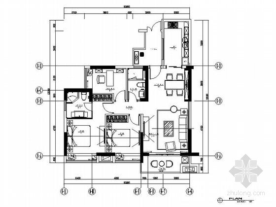 精致时尚三室二厅样板房室内装修施工图(含效果)