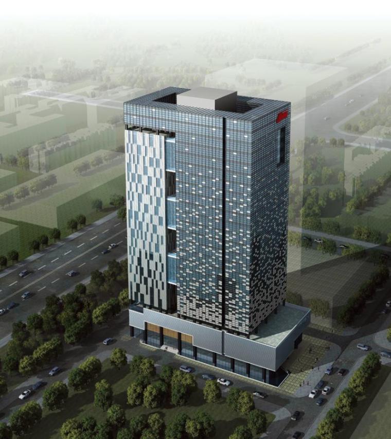 [深圳]高层双中庭塔式办公楼建筑设计方案文本