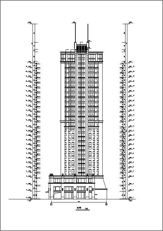 现代高层宾馆酒店建筑设计施工图CAD-现代高层建筑设计立面图2