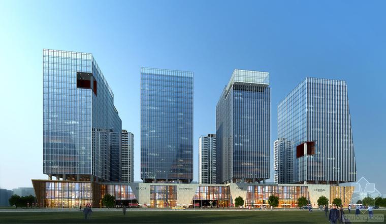 3套高层幕墙立面知名办公大厦建筑效果图