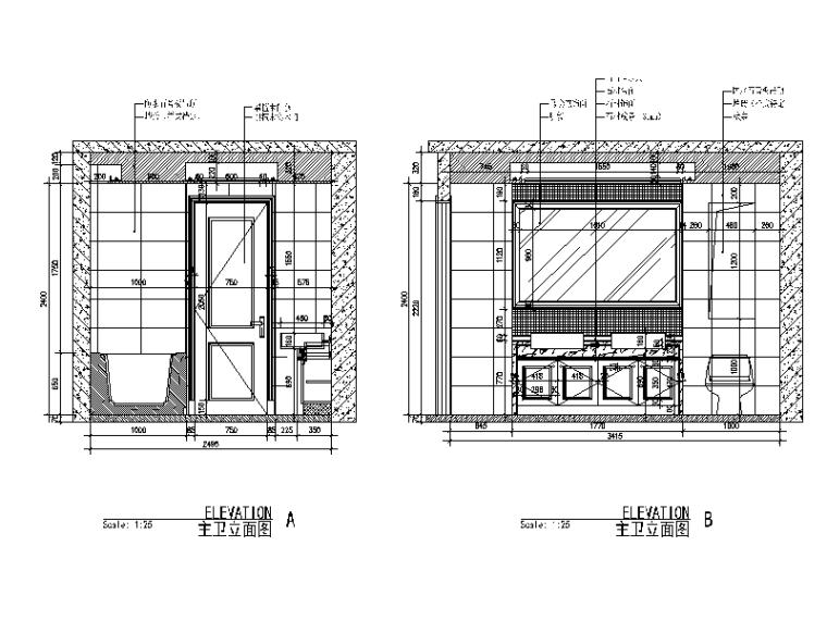 [江西]现代风格独栋别墅设计CAD施工图(含效果图)-【江西】现代风格独栋别墅设计CAD施工图(含效果图)立面图