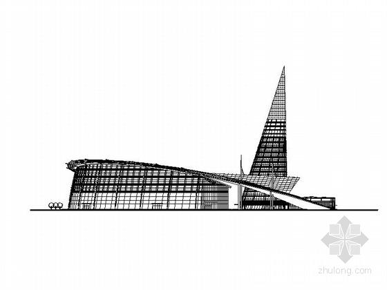 [浙江]锥形体量曲线型会展中心及办公楼建筑施工图(含效果图)