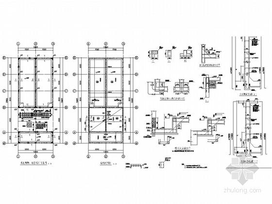 水池侧壁、柱布置图和底板配筋图