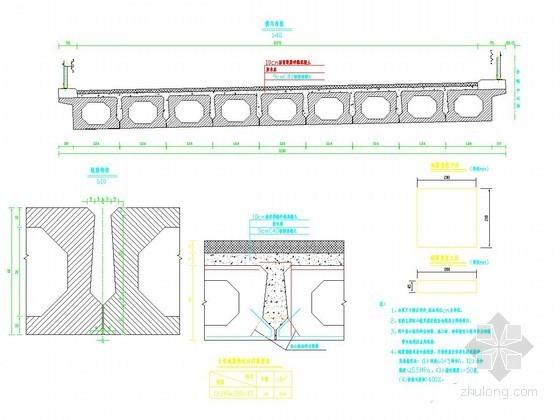 2×10m预应力混凝土简支空心板桥空心板横向布置图