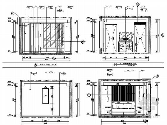 [江苏]气势恢宏旅游休闲花园式酒店附楼室内装修施工图(含效果)豪华贵宾大床间立面图