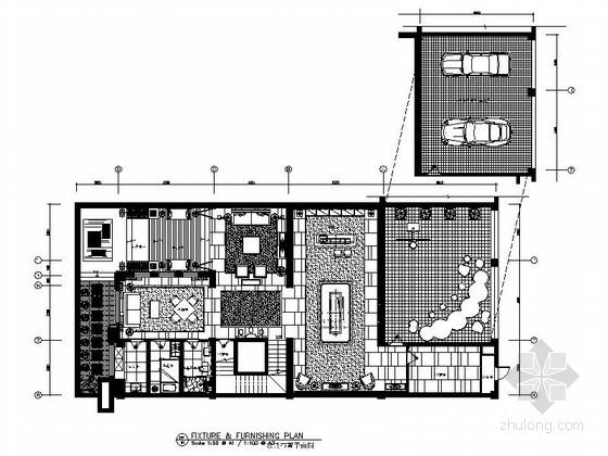 [山东]著名房产经典新中式四层双拼别墅室内装修施工图(含效果)