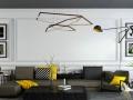 黄黑拼色现代简约客厅