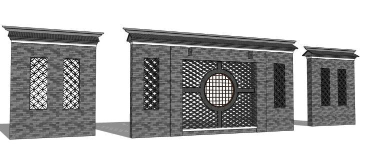 中式特色景墙照壁su模型设计-景墙照壁2 (3)