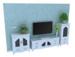 美式电视柜3D模型下载