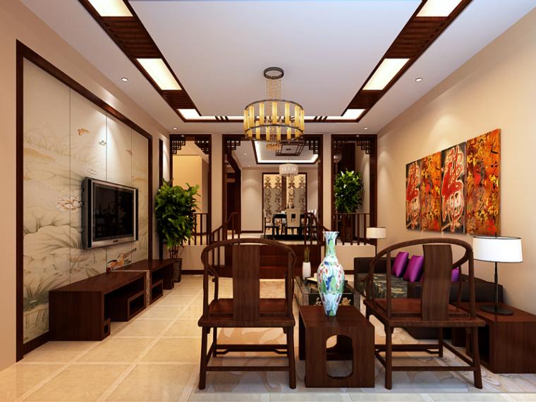 简约中式客餐厅3D模型下载