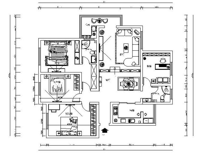 欧式风格四居室设计施工图