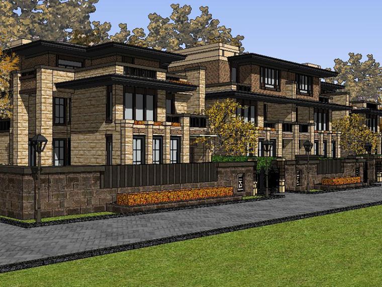 美式草原风--太仓别墅SU建筑模型