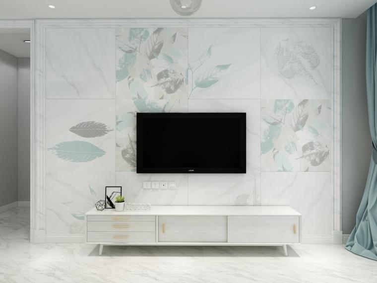 90㎡小清新风格整体客厅「蓝斋落叶」