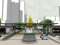 东大世纪广场居住区景观SU模型设计(新中式风格)