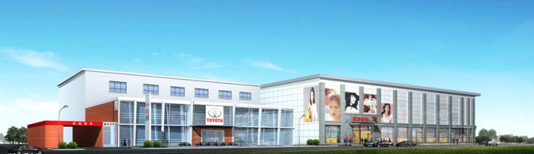 (原创)汽车4S店建筑外观设计案例效果图-4s店14