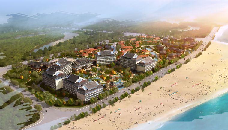 别墅海景区中式园林模型方案设计(3DMAX)