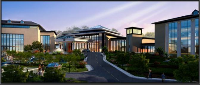 苏州温泉度假酒店内装修设计方案文本-酒店主楼正面效果图