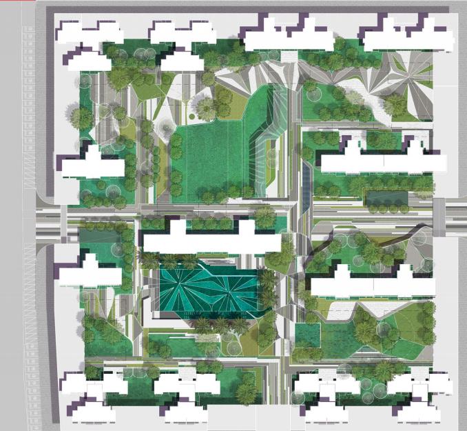 [广西]绿地南宁289住宅景观概念方案设计-[广西]知名地产南宁289住宅景观概念方案设计B-1总平面图