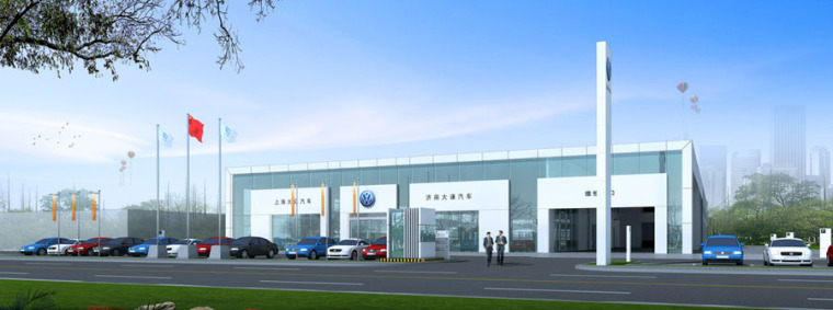 (原创)汽车4S店建筑外观设计案例效果图-4s店10