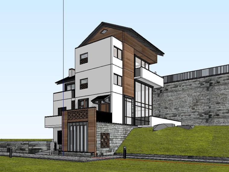现代山地独栋别墅SU建筑模型